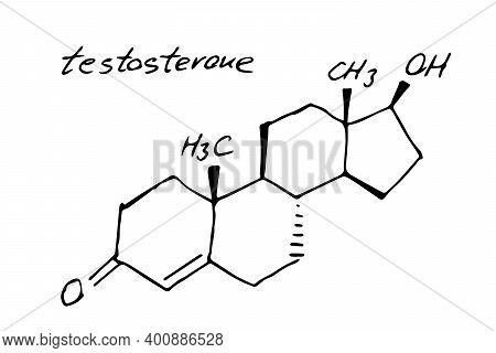 Testosterone Chemistry Molecule Formula Hand Drawn Imitation