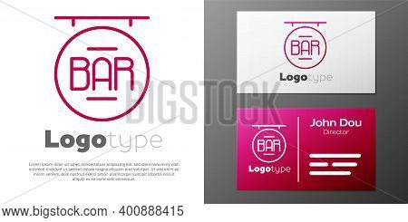 Logotype Line Street Signboard With Inscription Bar Icon Isolated On White Background. Suitable For