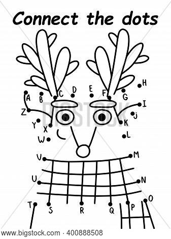 Connect The Dots Reindeer Stock Vector Illustration. Funny Cartoon Deer With Scarf Coloring Page For