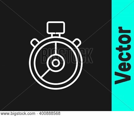 White Line Stopwatch Icon Isolated On Black Background. Time Timer Sign. Chronometer Sign. Vector Il