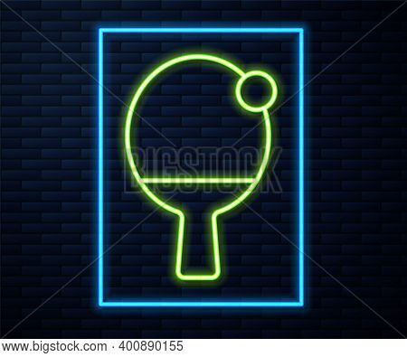 Glowing Neon Line Racket For Playing Table Tennis Icon Isolated On Brick Wall Background. Vector