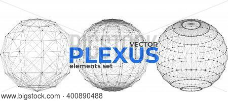 Abstract Spherical Plexus Design Elements Set. Geometric Structures From Dots And Lines. Polygonal P