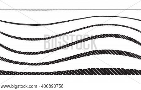 Set Of Twisted Rope Icon Or Cordage With Loops
