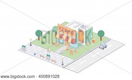 Vector Isometric Kebab Shop Or Street Food Kebab Restaurant Building With Sale Signboard, Awning And