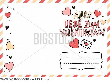 German Happy Valentine's Day Postcard With Hearts And Gift Boxes. Cute Greeting Card. Hand Drawn Air