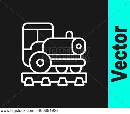 White Line Vintage Locomotive Icon Isolated On Black Background. Steam Locomotive. Vector