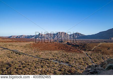 View Of Teide National Park At Sunset From Volcano Pico De Teide, Tenerife, Canary Islands, Spain
