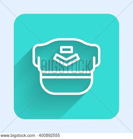 White Line Pilot Hat Icon Isolated With Long Shadow. Green Square Button. Vector