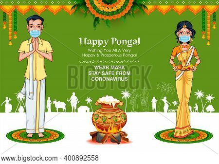 Illustration Of Tamilian Couple Wearing Mask For Protection Against Covid 19 Corona Virus On Happy P