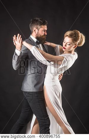 Ballroom Dance. Couple Dancing. Dancing, Salsa, Tangoing. Waltz. Couple In Tender Passion. Dancing C