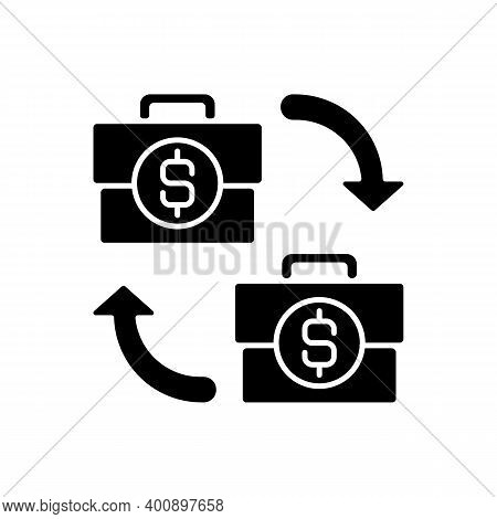 B2b Marketing Black Glyph Icon. Situation Where One Business Makes Commercial Product Transaction Wi