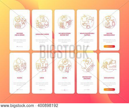 Blood Testing Advices Onboarding Mobile App Page Screen With Concepts Set. Lab Testing Specimens Wal