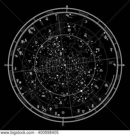 Astrological Celestial Map Of The Northern Hemisphere. The General Global Universal Horoscope For Ja
