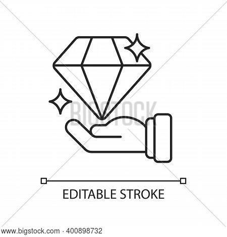 Valuable Linear Icon. Luxury Jewelry. Millionaire Wealth. Precious Gemstone. Hard Edge Gem. Thin Lin