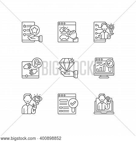 Responsive Website Design Linear Icons Set. Usability Evaluation. Web Analytics. Findable, Valuable