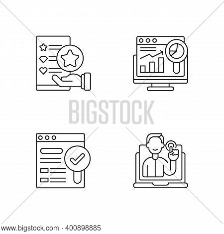 Web Analytics And Management Linear Icons Set. Usability Evaluation. Interactive And Responsive Webs