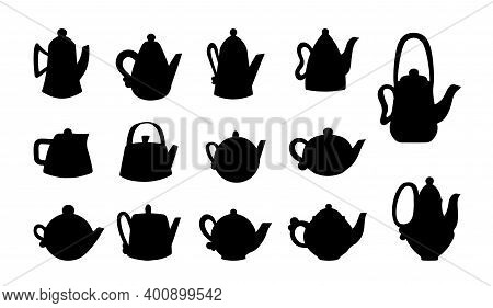 Vector Set Of Silhouettes Of Teapots On White Isolated. Round Teapots And Square Teapots For Tea And