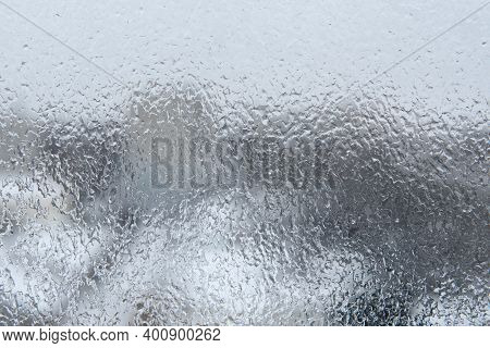 Beautiful Festive Frosted Glass Pattern. Ice On The Window. Graceful Expressive Natural Abstract Bac