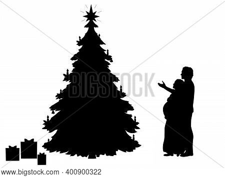 Silhouette Young Couple Expecting Baby. Expectations Of The New Year. Christmas Holiday. Illustratio