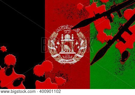 Afghanistan Flag And Rocket Launchers With Grenades In Blood. Concept For Terror Attack And Military
