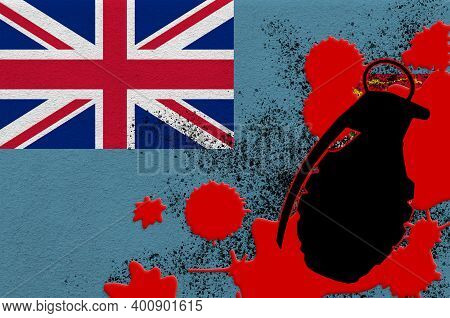 Fiji Flag And Mk2 Frag Grenade In Red Blood. Concept For Terror Attack Or Military Operations With L