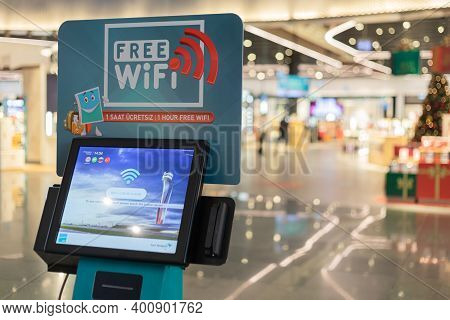Istanbul, Turkey, December 2020. Free Wi-fi Machine At The Ataturk Airport For Getting Access To Con