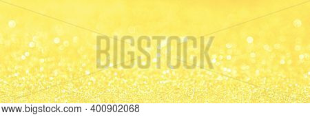 Beautiful Glitter Festive Shine Yellow Banner Bright Glowing Illuminating Backdrop Blur, Radiance. P