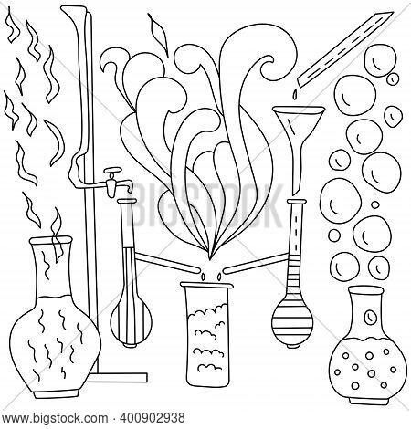 Contour Coloring Page With Scientific Paraphernalia, Flasks, Funnels And Burettes Surrounded By Fant