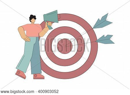 Team Leader. Leader Position. Setting Or Searching For A Goal. Vector Illustration.