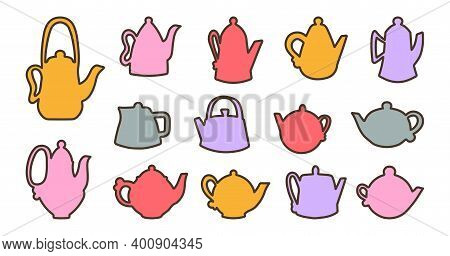 Vector Illustration Of Ceramic Teapots In Colored Doodle Style. Cartoon Style Teapots For Logos, Tea