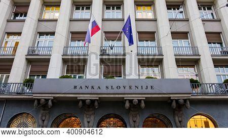 Slovenia, Ljubljana - 17 December 2020: Bank Of Slovenia Main Building In Ljubljana