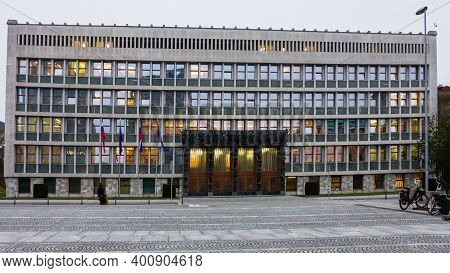 Slovenia, Ljubljana - 17 December 2020: Slovenian Parliament Building In Ljubljana