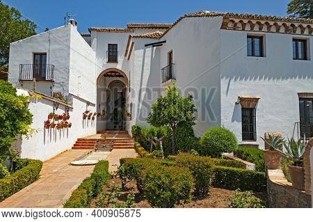 Moorish Building In The Mountaintop Town Of Ronda In Spain, The Main Tourist Destination In Andalusi