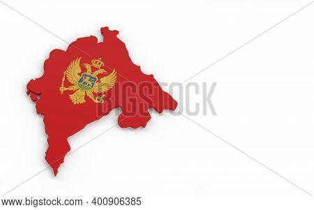 Map Of Montenegro With Montenegro Flag 3d Rendering
