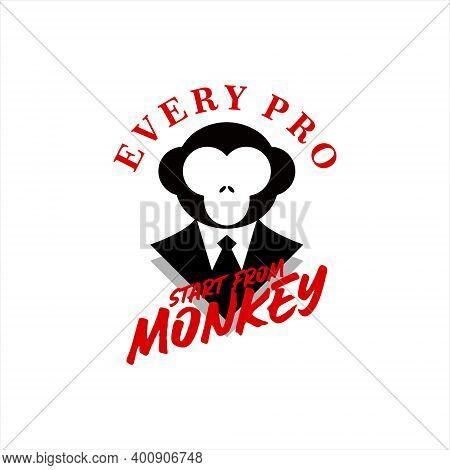 Professional Monkey Logo Wearing Tuxedo Playful Mascot. Simple Flat Black Illustration Design Inspir