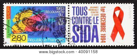 Postage Stamp France 1994 Aids Virus, Sida