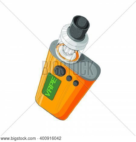 Vape Mod Kit With Rebuildable Dripping Tank Atomizer. E-cigarette Concept. Colorful Vector Illustrat