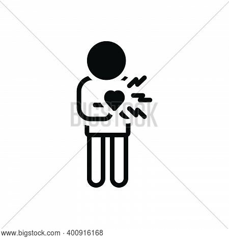 Black Solid Icon For Suddenly Chest-pain Heart-attack Cardiac Heart Disease Abruptly Sudden Incident