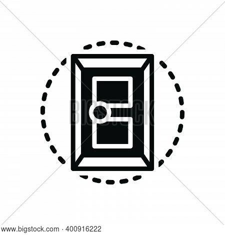 Black Solid Icon For Door Doorknob Close Design Entrance Gateway Inlet Doorway Exit Entry Interior