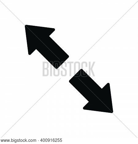 Black Solid Icon For Extend Arrow Opposite Prolong Expand Enlarge Distend Develop Widen Broaden Ampl