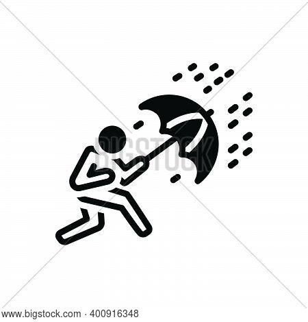 Black Solid Icon For Crisis Trouble Menace Disaster Danger Scrape Deadlock Rain Umbrella Heavy-rain