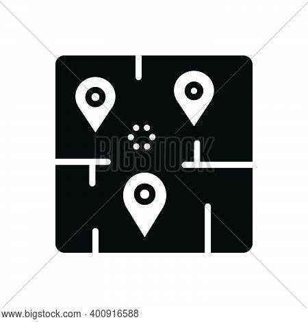 Black Solid Icon For Area Range Navigation Marker Map Neighborhood Sector Zone Locality Region Terri