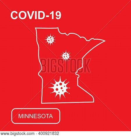 Map Of Minnesota State Labeled Covid-19. White Outline Map On A Red Background.
