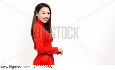Cute Woman With Vietnam Culture Traditional Dress,traditional Costume, Ao Dai Is Famous Traditional