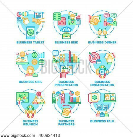 Business Work Set Icons Vector Color Illustrations. Business Tablet And Risk, Dinner And Talk With B