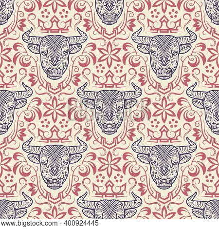 Vintage Seamless Pattern Of Ornamental Sacred Cow Face. New Year 2021 Gift Wrapping Of Patterned Ox