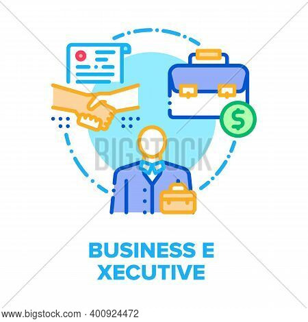 Business Executive Worker Vector Icon Concept. Executive Businessman Have Successful Meeting With Pa