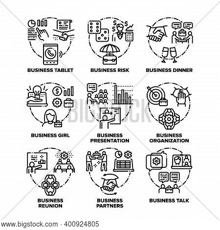 Business Work Set Icons Vector Black Illustrations. Business Tablet And Risk, Dinner And Talk With B