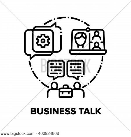 Business Talk Vector Icon Concept. Video Call Remote Conference With Partners Or Colleagues, Busines