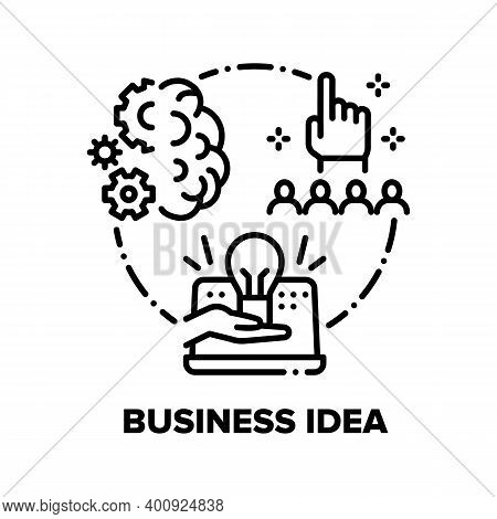 Business Idea Vector Icon Concept. Businessman Idea Thinking, Project Imagination And Organisation,